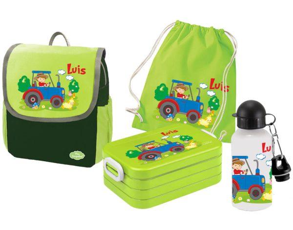 Set 5 Rucksack Happy Knirps NEXT - Brotdose Maxi - Jutebeutel - Trinkflasche Grün Motivauswahl