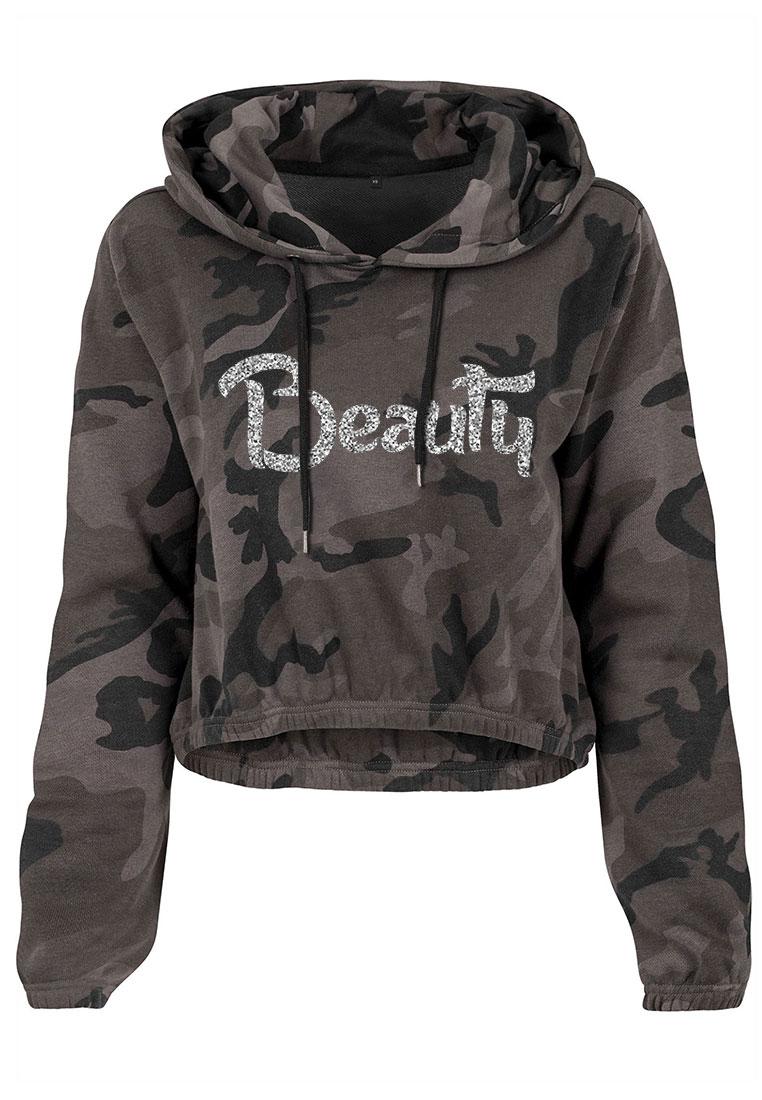 damen camouflage cropped hoodie glitzer beauty camouflage shirts erwachsene schnell. Black Bedroom Furniture Sets. Home Design Ideas