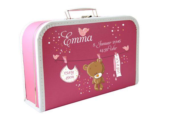 Kinderkoffer Spielzeugkoffer Koffer Geschenkkoffer Patengeschenk Taufe Geburt rosa Teddy
