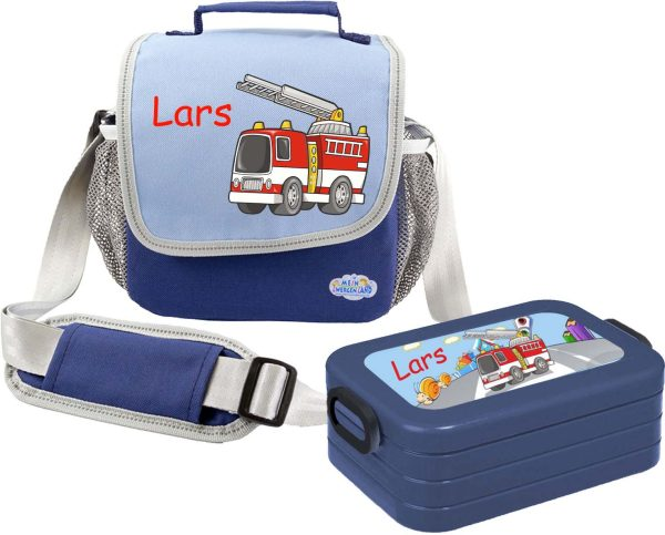Set 1 Tasche Happy Knirps + Brotdose Mepal Blau
