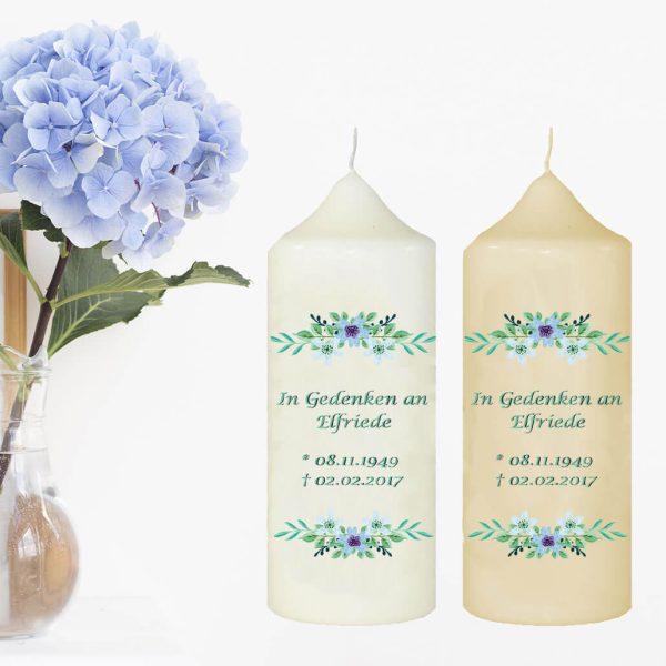 Wachskerze zum Gedenken Watercolor Blumen