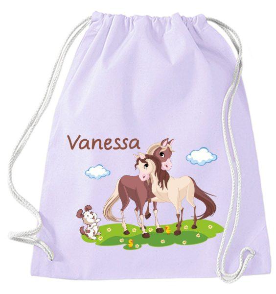 Turnbeutel aus Baumwolle in Lavendel mit Name und Pferde