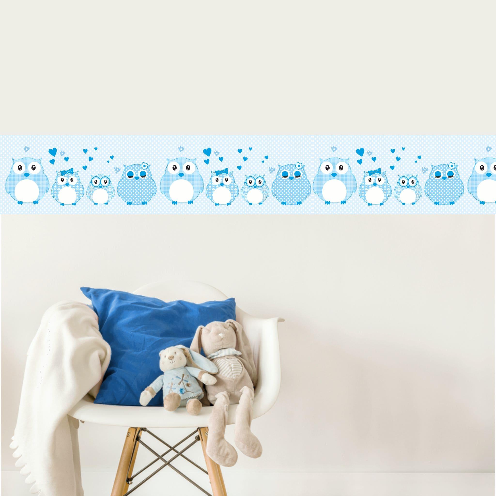 Vlies Bordüre selbstklebend fürs Kinderzimmer Patchwork blau ...