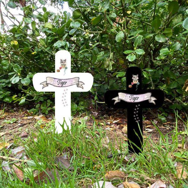 Grabkreuz fürs Tier Katze Namensbanner