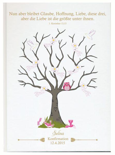 Personalisiertes Gästebuch zur Konfirmation Kommunion rosa