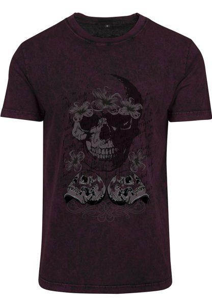 Herren Acid Washed T-Shirt Totenkopf