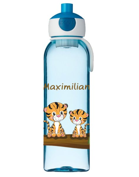 Wasserflasche Mepal Campus mit Name in blau Tiger