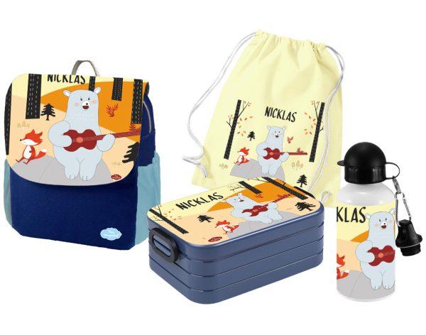 Set 5 Rucksack Happy Knirps NEXT Print - Brotdose - Flasche - Jutebeutel Blau Bär mit Fuchs
