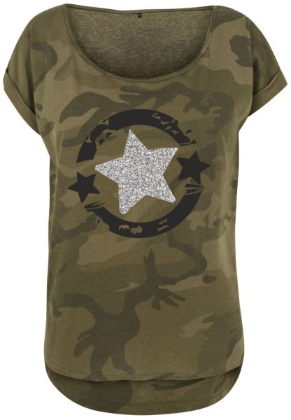 Damen Camouflage T-Shirt Glitzer Stern