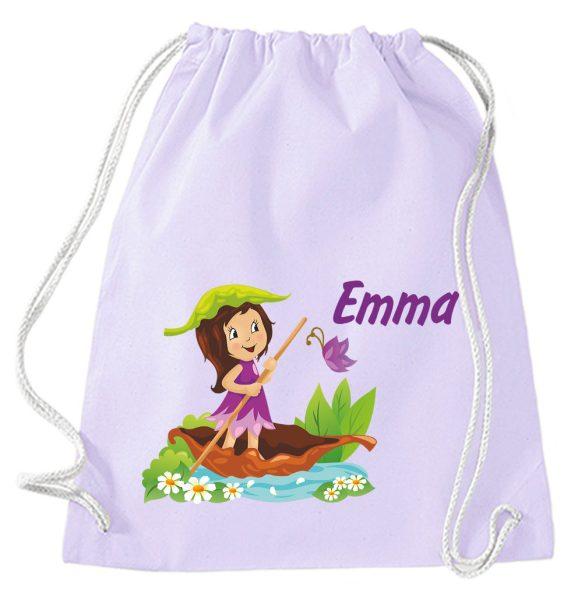 Turnbeutel aus Baumwolle in Lavendel mit Name und Mädchen im Boot