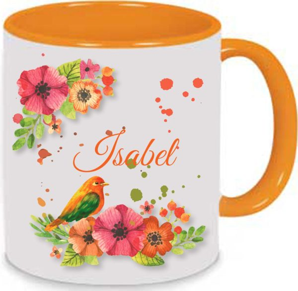 Keramiktasse Tasse Kaffee Tee Becher orange Watercolor Aquarell Blumen