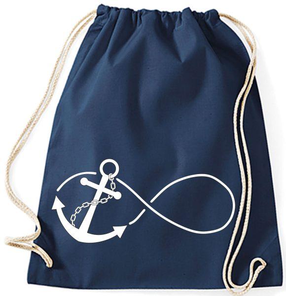 Jutebeutel Turnbeutel Sportbeutel navy Anchor Infinity