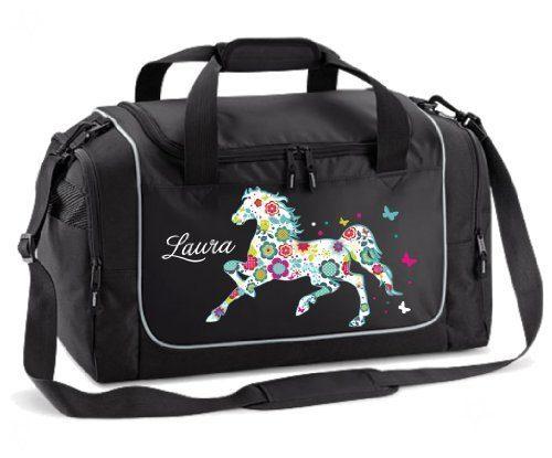 Sporttasche in Schwarz mit Name und Pferd Blumenpferd