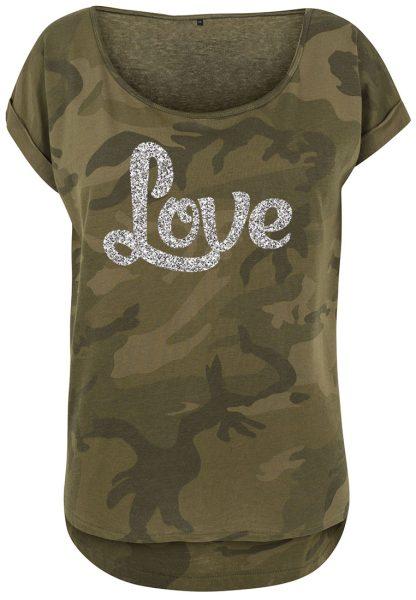 Damen Camouflage T-Shirt Glitzer Love