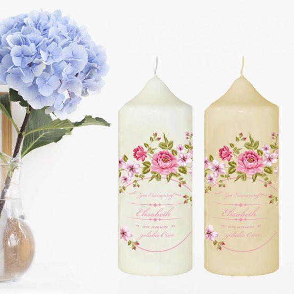 Wachskerze zum Gedenken Blumenkranz