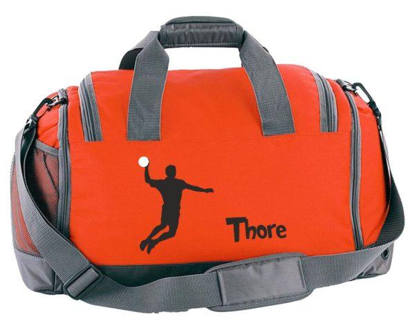 Multi-Sporttasche mit Schuhfach und Feuchtfach in Orange mit Name und Handball