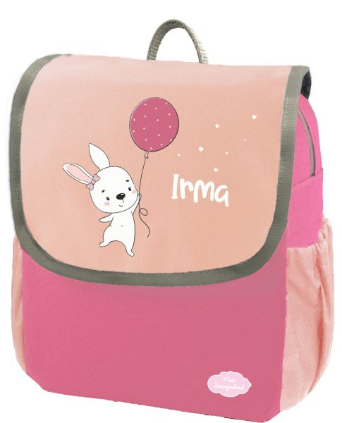 Kindergartenrucksack Happy Knirps NEXT mit Name Pink Hase mit Ballon