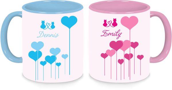 Tassen Twinset in rosa und blau - Kätzchen
