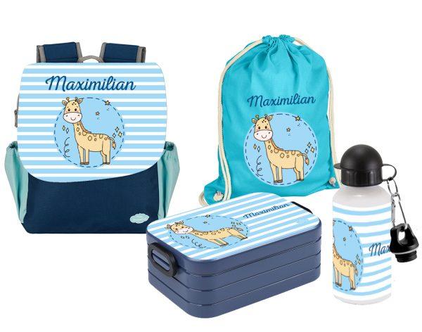 Set 5 Rucksack Happy Knirps NEXT Print - Brotdose - Jutebeutel - Flasche Blau Giraffe