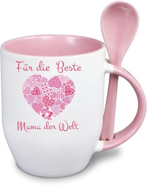 Löffeltasse - Muttertag - Herz mit Patchwork