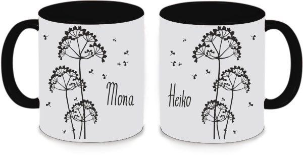 Tassen Twinset in schwarz mit Name und Pusteblumen