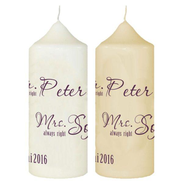 Hochzeitskerze Traukerze mit Namen und Datum Mr. & Mrs.