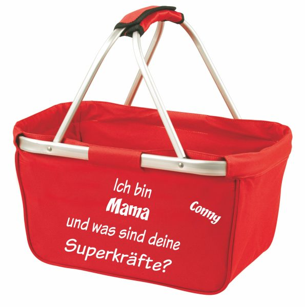 Einkaufskorb Korb rot Ich bin Mama was sind deine Superkräfte?