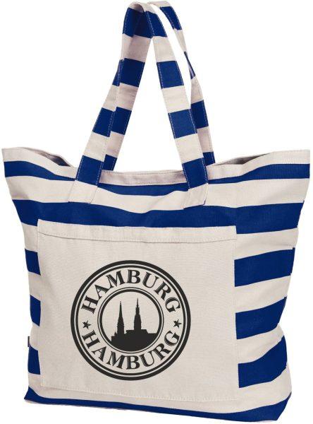 Streifen-Strandtasche Shopper maritim Hamburg Logo sw