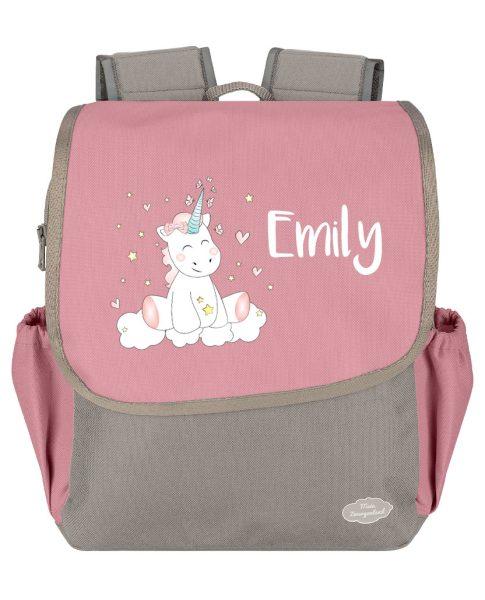 Kindergartenrucksack Happy Knirps NEXT mit Name in Rosa Grau mit Einhorn Cutie