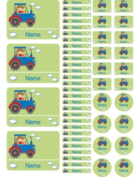 Namensaufkleber Heftaufkleber Stickerbogen Traktor