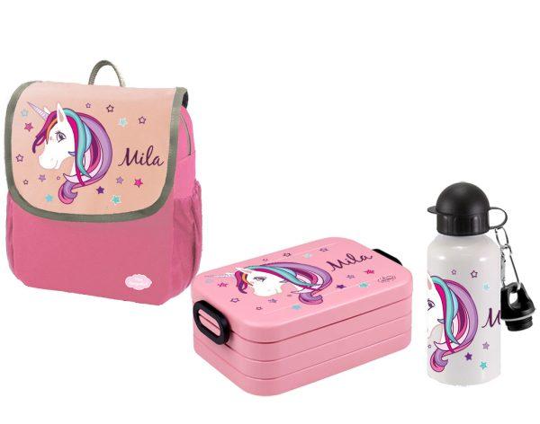 Set 3 Rucksack Happy Knirps NEXT - Brotdose Maxi - Trinkflasche Pink Motivauswahl