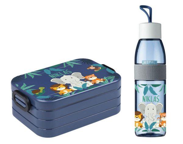 Brotdose Take A Break midi - Trinkflasche Ellipse in Nordic Denim mit Name und Löwe Elefant Tiger