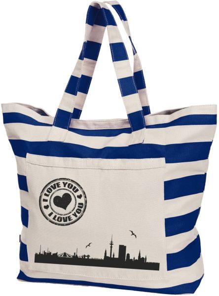 Streifen-Strandtasche Shopper maritim HH Skyline schwarz