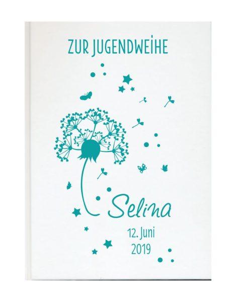 Personalisiertes Gästebuch zur Jugendweihe mit Namen und Datum Pusteblume