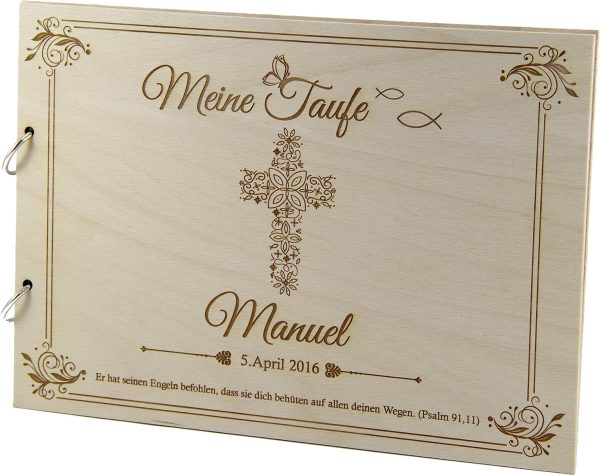 Rustikales Gästebuch aus Holz zur Taufe Motiv Kreuz
