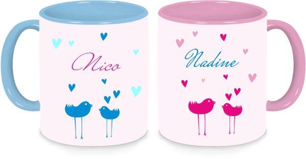 Tassen Twinset in rosa und blau - Vögelchen