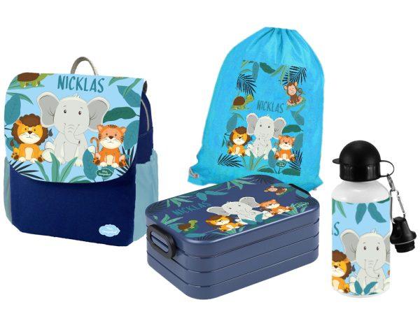 Set 5 Rucksack Happy Knirps NEXT Print - Brotdose - Flasche - Jutebeutel Blau Löwe Elefant Tiger