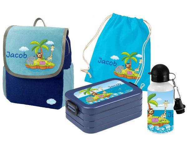 Set 5 Rucksack Happy Knirps NEXT - Brotdose Maxi - Jutebeutel - Trinkflasche Blau Tierinsel