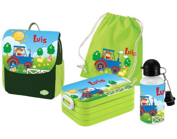 Set 5 Rucksack Happy Knirps NEXT Print - Brotdose Maxi - Trinkflasche - Jutebeutel Grün Motivauswahl