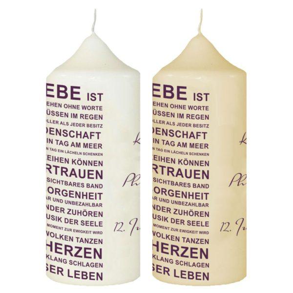Hochzeitskerze Traukerze mit Namen und Datum Lila Typografie