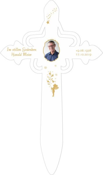 Grabkreuz mit Stern Foto und Goldener Engel