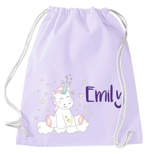 Turnbeutel aus Baumwolle in Lavendel mit Name und Einhorn Cutie