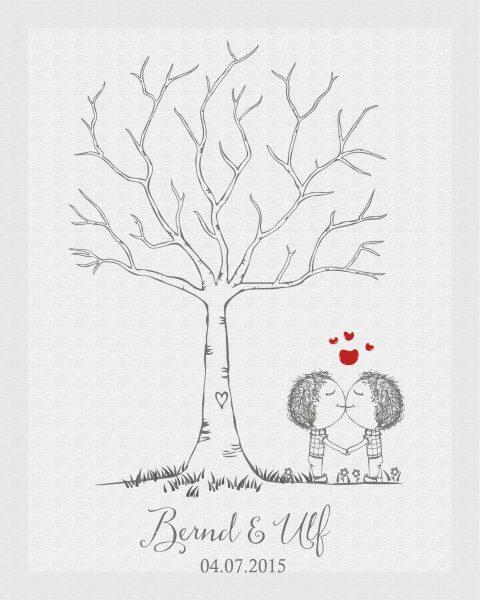 Hochzeitsleinwand Leinwand Fingerabdruckbaum Wedding Tree Gästebuch Männerpärchen