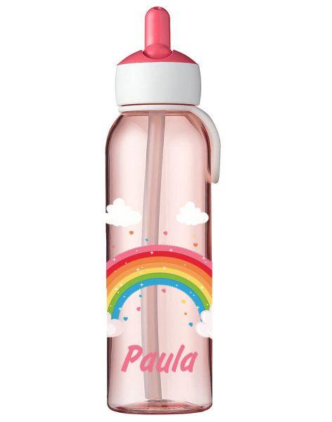 Wasserflasche Mepal Campus Flip-Up in Rose mit Name und Regenbogen