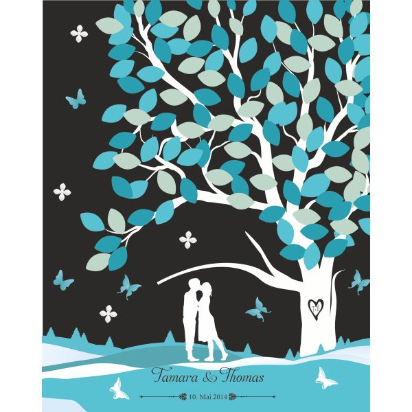Hochzeitsleinwand Leinwand Fingerabdruckbaum Wedding Tree Gästebuch schwarz - Liebesbaum blau