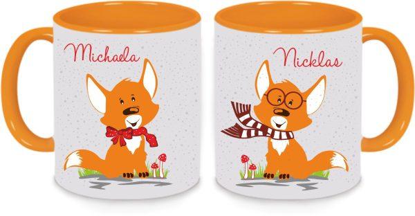 Tassen Twinset in orange mit Name und Fuchspärchen