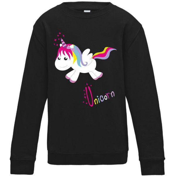 Sweatshirt für Kinder Pullover schwarz Einhorn Happy