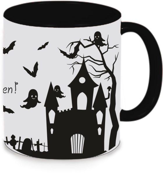 Tasse Schwarz Happy Halloween Schloss