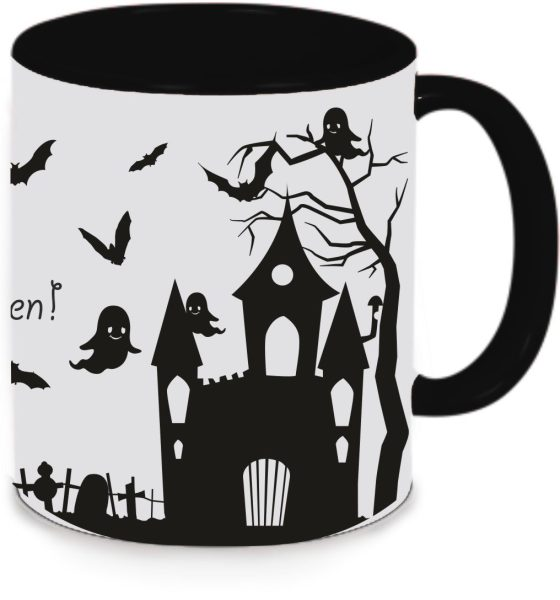 Keramiktasse Tasse Kaffee Tee Becher zu Halloween schwarz Happy Halloween Schloss