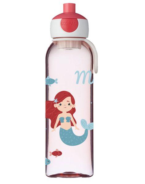Wasserflasche Mepal Campus mit Name in Rose und Meerjungfrau